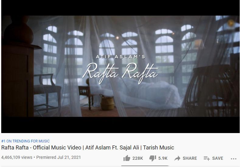 عاطف اور سجل کی میوزک ویڈیو 'رفتہ رفتہ' یوٹیوب پر ٹاپ ٹرینڈ
