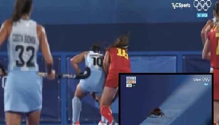 ٹوکیو اولمپکس: ہاکی میچ کے دوران گراؤنڈ میں چلتے کاکروچ کی ویڈیو وائرل