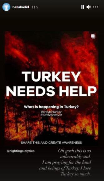 ترکی میں آتشزدگی، بیلا حدید اور دعا لیپا بھی دعاگو