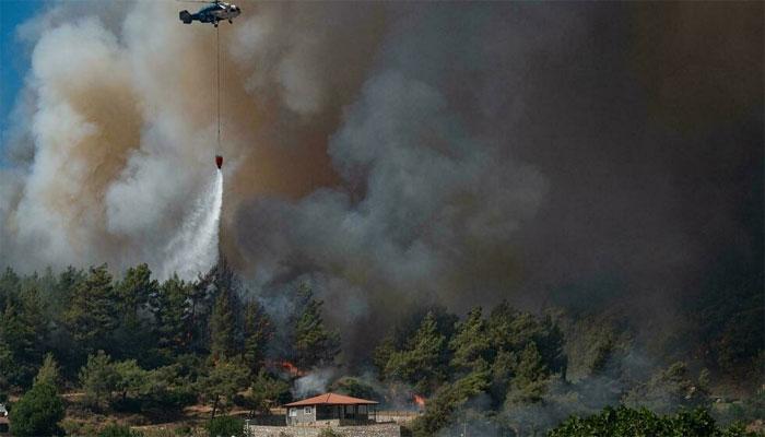 ترکی: ساحلی شہر میلاس میں پہاڑوں پر پھیلنے والی آگ سے بجلی گھر کو خطرہ