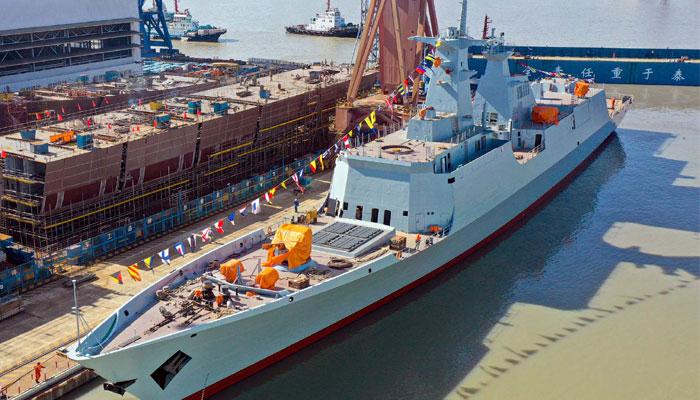 پاک بحریہ کیلئے چین میں تیار تیسرے 054 فریگیٹ جہاز کی لانچنگ