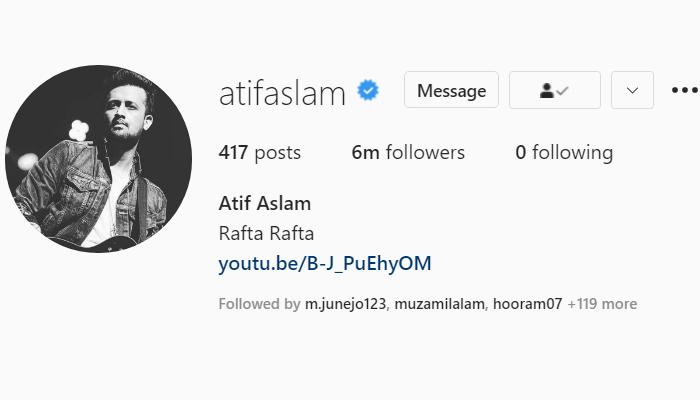 عاطف اسلم کے انسٹا فالوورز کی تعداد 6 ملین ہوگئی