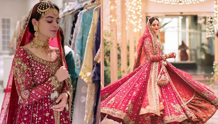 منال خان کا عروسی جوڑا کتنے لوگوں نے مل کر تیار کیا؟
