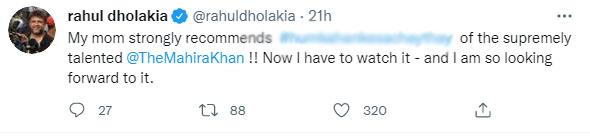 ماں نے ماہرہ خان کا ڈرامہ دیکھنے کا مشورہ دیا ہے: بھارتی ہدایتکار