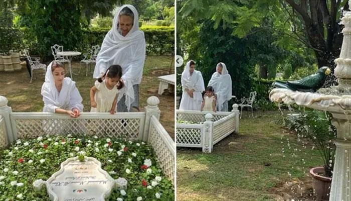 بھارتی ادکارہ سوہا علی خان کی والدہ کے ہمراہ والد کی قبر پر حاضری