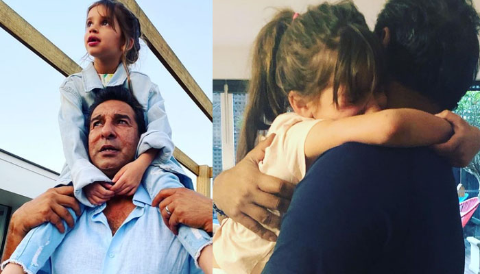 Emotional moments of Wasim Akram and daughter